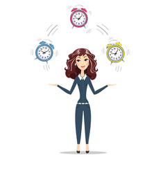 Business woman holding time vector