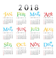 calendar planner happy new year 2018 vector image