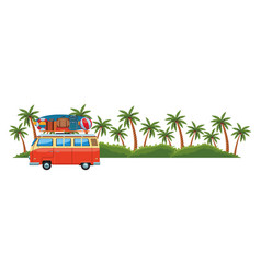 Camper van and island vector