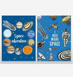 Card planets in solar system and astronaut vector