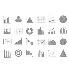 Charts gray icons set vector