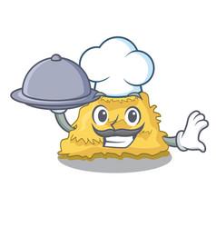 Chef with food hay bale mascot cartoon vector