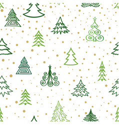christmas winter forest snow seamless pattern vector image