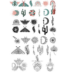 clipart hand drawn bohemian silhouette vector image