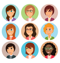 collection avatars various young women vector image