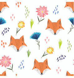 cute cartoon pattern with foxes dots and flowers vector image