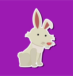 cute rabbit character sticker vector image