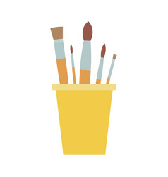 drawing brushes in a glass flat isolated vector image