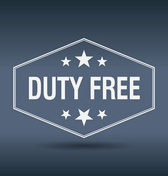 Duty free hexagonal white vintage retro style vector