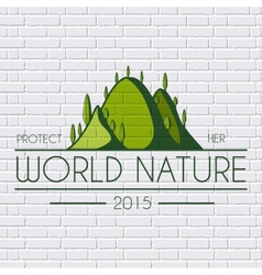 Ecology hill colored logo or template on a white vector