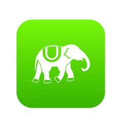Elephant icon digital green vector