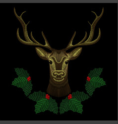 Embroidery cute deer face with christmas mistletoe vector