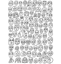 Faces doodles set vector