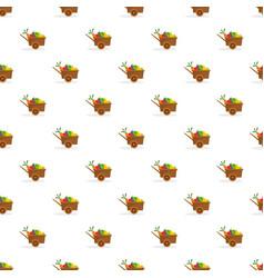 farm wheelbarrow fruits vegetables pattern vector image