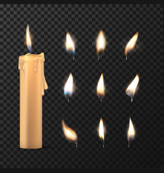 fire flame and white or beige cylinder candle vector image