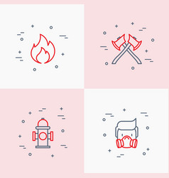 Firefighter thin line icons set vector