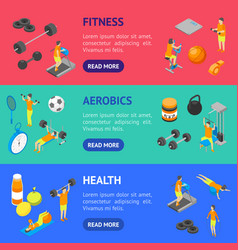 fitness club concept banner horizontal set 3d vector image