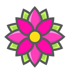 Flower astra filled outline icon easter holiday vector