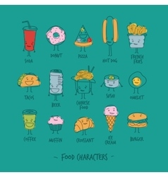 Food characters turquoise vector