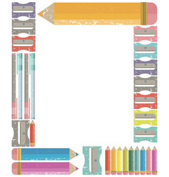 Frame with colour pencils back to school concept vector
