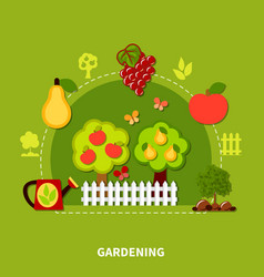 Gardening tools flat composition vector