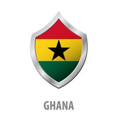 ghana flag on metal shiny shield vector image