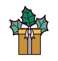 Gift with gray bow and christmas leaves vector