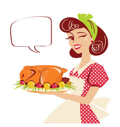 housewife holding plate with roasted turkey vector image