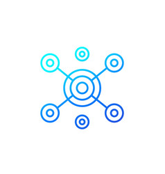hub icon on white line vector image