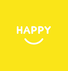 Icon concept of happy word with smiling mouth on vector
