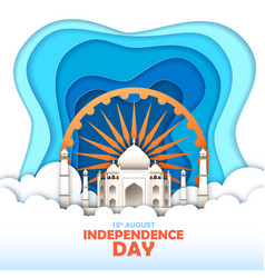 independence day india taj mahal in sky vector image