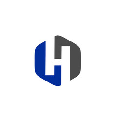 Initials h logo abstract blue negative space vector
