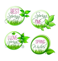 Isolated leaf grass of spring time quotes vector