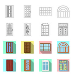 isolated object of door and front logo collection vector image
