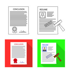 Isolated object of form and document icon set of vector