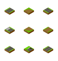 Isometric road set of underground footpath sand vector