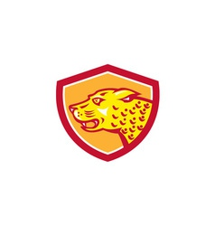 Jaguar Head Side Growling Shield Retro vector