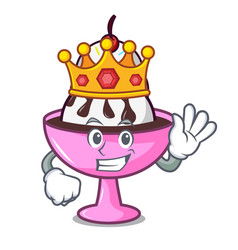 King ice cream sundae mascot cartoon vector