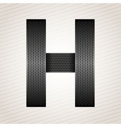 Letter metal ribbon - H vector image
