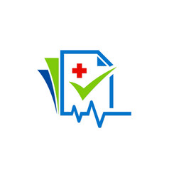 Medic file check list logo vector