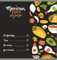 mexican food menu on black backdrop decorated vector image