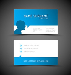 Modern simple blue business card template with vector