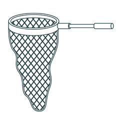 monochrome contour of fishing net with handle vector image