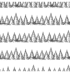 Monochromic seamless pattern with pine forest vector