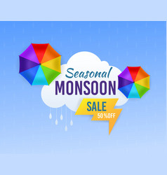 Monsoon sale season rainy and umbrella vector