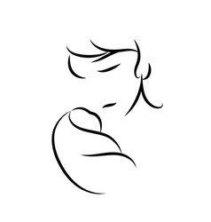 mother and baby stylized symbol mom hugs her vector image