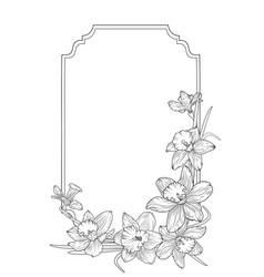 Narcissus daffodils spring floral border frame vector