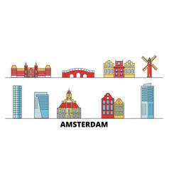 netherlands amsterdam city flat landmarks vector image