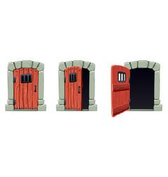 Open doors cartoon set vector