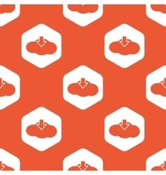 Orange hexagon cloud download pattern vector image
